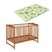 Patut lemn Kinga Natur 120X60 cm cu saltea 7 cm color cocos integral gratuit copii bebelusi PAK-Kinga188