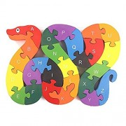 Fancyku Alphabet Jigsaw Puzzle Building Blocks Animal Wooden Puzzle Wooden Snake Letters Numbers Block Toys for Children's Toys