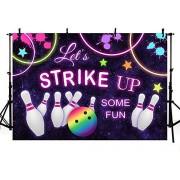 Zhyxia Nuevos Fondos de Estudio de fotografía de cumpleaños de Bolos Vamos a atacar Algunas Decoraciones Divertidas de la Fiesta de Bolos Rainbow Neon Glow Girls Birthday Banner Photo Backdrops 7x5ft