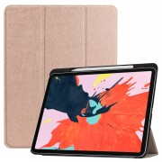For iPad Pro 12.9-inch (2018) PU Leather Tri-fold Stand Tablet Protection Shell [with Pen Slot] - Gold