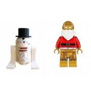 Lego R2-D2 Snowman and C3PO Santa Minifigures Star Wars Lego