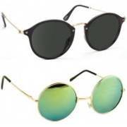 Tazzx Cat-eye, Round Sunglasses(Black, Green)