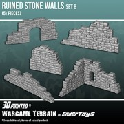 Ruined Stone Walls Wall Set B, Terrain Scenery for Tabletop 28mm Miniatures Wargame, 3D Printed and Paintable, EnderToys