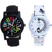Spanish Special Colour Digit And White Peacock Feathers Couple Casual Analogue Wrist Watch By Taj Avenue