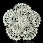 Swarovski Crystal Flower Cluster Bridal Wedding Charm Pin Brooch