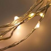e-Led Light Cascatina in metallo 36 Microled Bianco Caldo per interno a Batteria