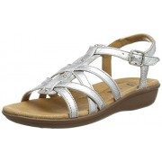Clarks Women's Silver Leather Fashion Sandals - 5 UK/India (38 EU)