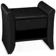 Corium® Éjjeli szekrény műbőr fiókos komód 47 x 37 x 44 cm fekete 1 fiók tárolórész