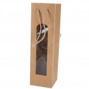Bolsa para botella de vino kraft con ventana