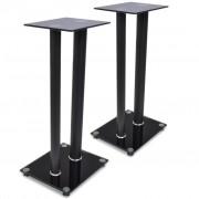 vidaXL 2 pcs Glass Speaker Stand (Each with 2 Black Pillars)