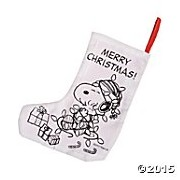 Peanuts Snoopy And Woodstock Color Your Own Christmas Stocking