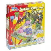 Kids Toys Play Dough Modelling 25 Piece Safari Park Set - With Scenery Setting, Array Of Modelling Tools, Grater, Stencils, Sculpters & 4 Different Colours & Tubs With Moulds