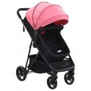 vidaXL Carrinho de bebé/berço 2 em 1 aço cor-de-rosa e preto