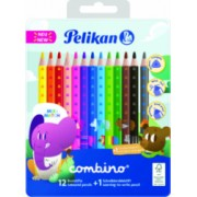 Creioane color Pelikan combino set 12 culori + 1 creion grafit invata sa scrii cutie de metal