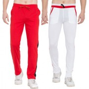 Cliths Stylish Joggers For Men Yoga Pants For Gym- Pack of 2 (White Red Red Black)