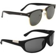 Royalmede Clubmaster, Wrap-around Sunglasses(Black, Black)