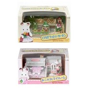 Two Sylvanian Families Room Sets Together Attractive Bedroom & Family Garden