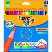 Creioane colorate 24 culori Evolution Bic