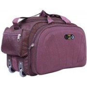 N T (Expandable) Stylish Polyester Travel Trolley Duffle Bag With Spacious Compartment Duffel Strolley Bag(Purple)