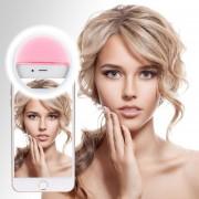 Louiwill Clip En Selfie Ring Light [batería Recargable] Con 24 LED Para IPhone 6 6s 7 Plus, IPad, Samsung Galaxy Y Otros Teléfonos Inteligentes Andriod (rosa)
