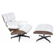 Design Town Fotel z podnóżkiem Biała Skóra Naturalna podstawa orzech Insp. Lounge Chair