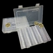 IHC 100 Pcs/Box Coin Box Clear 30Mm Round Boxed Coin Holder Plastic Storage