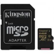 Карта памет Kingston microSD 64GB, UHS-I Class 3, + Адаптер, KIN-SDCG/64GB