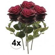 Bellatio flowers & plants 4x Donker rode rozen Simone kunstbloemen 45 cm