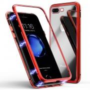 Husa magnetica din sticla cu rama metalica Iphone 7 / 8 Plus Rosu