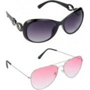 Hrinkar Over-sized Sunglasses(Grey, Pink)