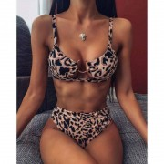 Two Piece suit Women's Swimsuit Bikini Set Leopard print Two Piece Filled Bra Swimwear Beachwear fashion Sexy Swimwear Beachwear