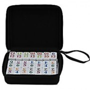 Double 12 Mexican Train Number Dominoes To Go Travel Size With Zip Up Case Hub & 8 Domino Trains