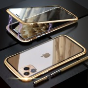 LUPHIE Metal Frame Magnetic Closure Tempered Glass Phone Case for Apple iPhone 11 Pro Max 6.5 inch - Gold