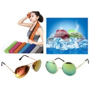 Combo of Summer Outdoor Sports Cold Cooling Towel And 2 Different Colours Glasses