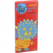 Theo Chocolate Organic Chocolate Bar - Partner - Dark Chocolate - 70 Percent Cacao - Congo ECI Vanil