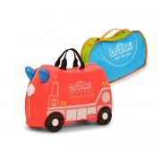 Set travel pentru copii - Valiza TRUNKI FRANK - Masina de Pompieri Rosu + Trunki Tidy Bag Blue
