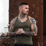 GymBeam Majica bez rukava Stringer Tank Top Heather Olive Green XL