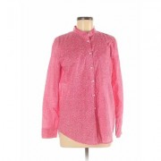 Liz Claiborne Long Sleeve Button Down Shirt: Pink Tops - Size Medium
