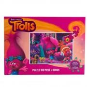 Set Puzzle 100 piese, cu schite de colorat Trolls