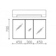 Pelipal Spiegelschrank 6110-SPS08, B:1200, H:710, T:170mm 6110-SPS08