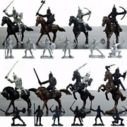 28PCS Medieval Knights Warriors Horses Kids Toy Soldiers Figures Model Playset playing on sand castles