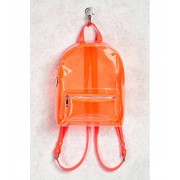Forever21 Faux Leather Trim Clear Backpack Orange