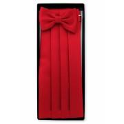 Červený smokingový pás s motýlkem a kapesníčkem Avantgard 953-9