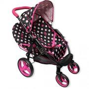 Quack Pink Lady Polka Dots Doll Malibu Dou Twin Big Swivel Wheel Stroller 2 In 1