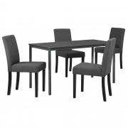 PremiumXL - [en.casa] Stilski design blagovaonski stol (140x60) - sa 4 elegantne stolice - tamno sivo