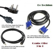 Combo Set 15 Pin VGA Cable Aux Extension 3 Pin Power Cable Cord for Laptop