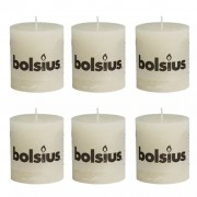 Bolsius Rustic Pillar Candle 80 x 68 mm Ivory 6 pcs