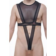 Petit-Q Douzy Cru Mesh Crop Top O Ring Harness Black PQ180806