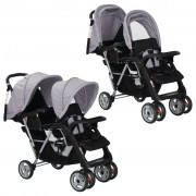 vidaXL Tandem Stroller Steel Grey and Black