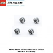 Lego Parts: Wheel 11mm x 8mm with Center Groove (PACK of 4 - LBGray)